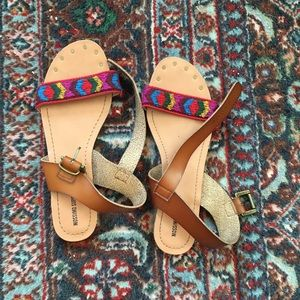 Colorful Urban Outfitters Embroidered Sandals